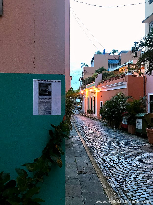 Colorful Buildings in Old San Juan as sun sets | Hello Little Home
