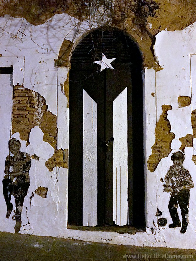 Black and White Puerto Rico flag painted on an old door in Old San Juan | Hello Little Home