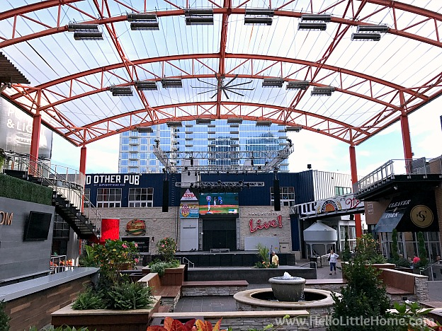 Outdoor entertainment area in downtown Kansas City, Missouri in the Power & Light District