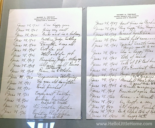 Personal note at the Harry S. Truman Library and Museum | Hello Little Hom