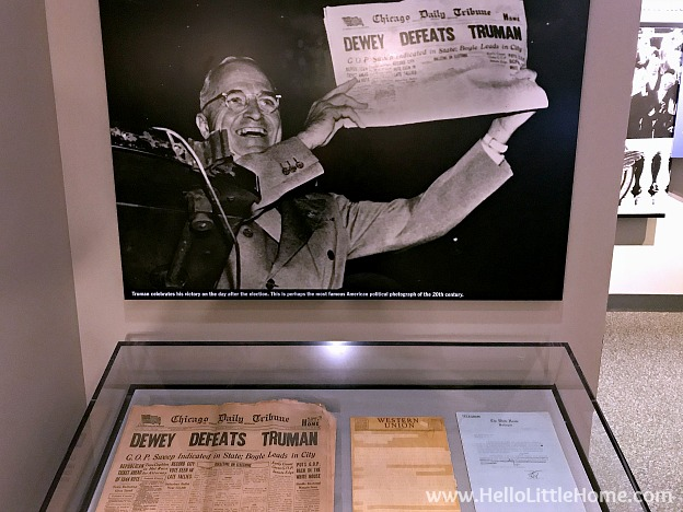 Truman holding newspaper after presidential victory at the Harry S. Truman Library and Museum | Hello Little Hom