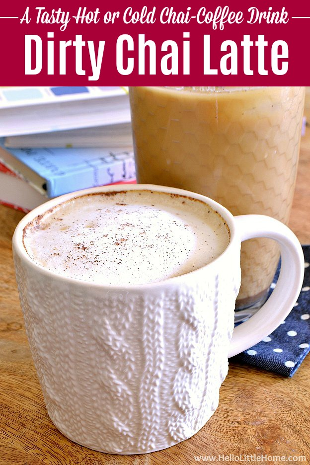 Treat yourself to this Dirty Chai Latte recipe ... it's black tea flavored with fragrant chai spices and a double shot of espresso! Learn how to make a Dirty Chai Latte with this easy espresso drink recipe. If you love chai lattes, then you'll adore this homemade Dirty Chai, too. Enjoy this DIY Dirty Chai Latte iced or hot ... it's the perfect afternoon or morning pick me up! | Hello Little Home #chai #chailatte #dirtychai #dirtychailatte #icedchai #tea #tearecipe #coffee #coffeetime
