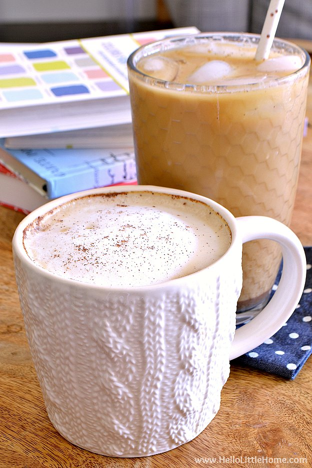 Dirty Chai Latte recipe ... black tea with flavorful chai spices and a double shot of espresso! Learn how to make a Dirty Chai Latte with this easy drink recipe. Enjoy this DIY Dirty Chai Latte iced or hot ... it's the perfect afternoon or morning pick me up! | Hello Little Home