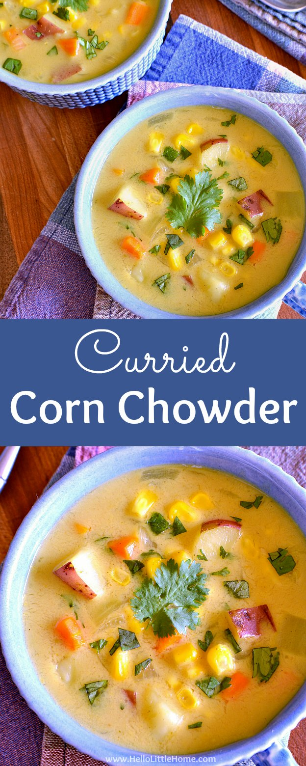 Easy Curried Corn Chowder with Coconut Milk ... a delicious vegetarian soup recipe that's perfect for the end of summer or anytime of year! This simple vegetarian corn chowder is filled with fresh corn, potatoes, and other veggies, as well as creamy coconut milk and delicious curry flavors. Make this vegan corn chowder recipe tonight! | Hello Little Home