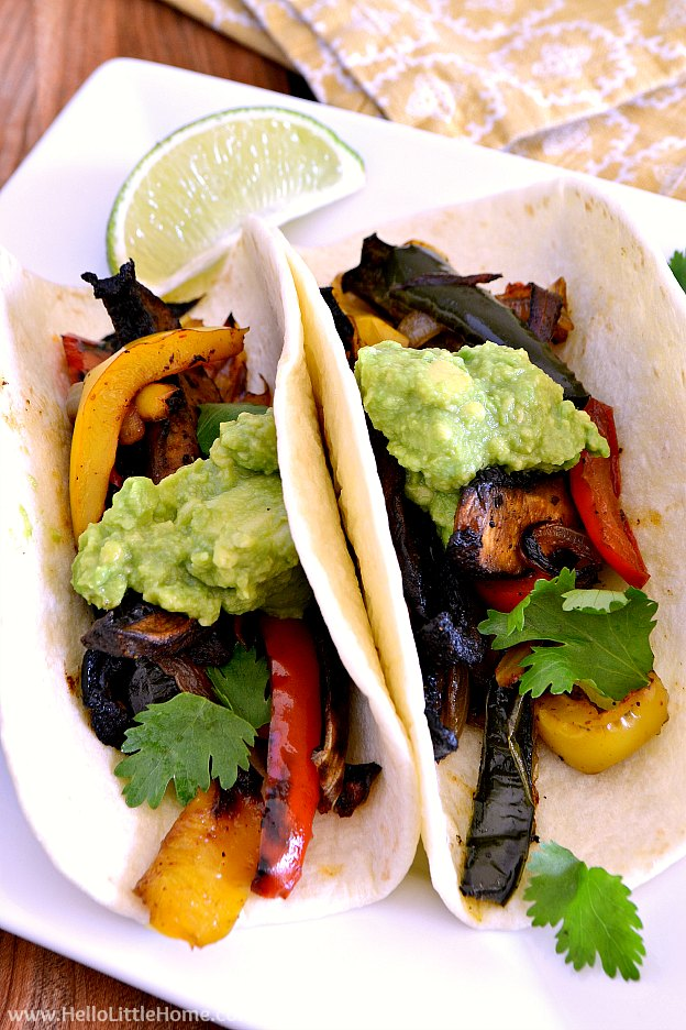Close up of Vegetable Fajitas on a plate. | Hello Little Home