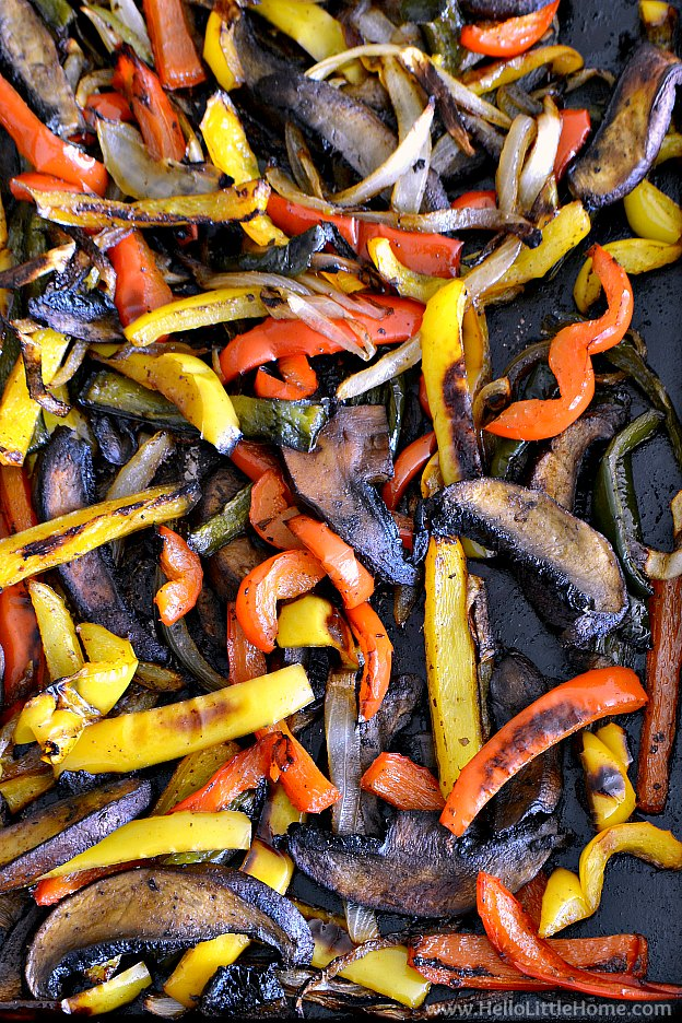Pan of Roasted Vegetables for Fajitas | Hello Little Home