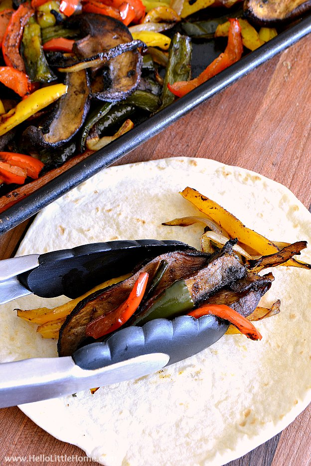 Assembling the Roasted Veggie Fajitas | Hello Little Home