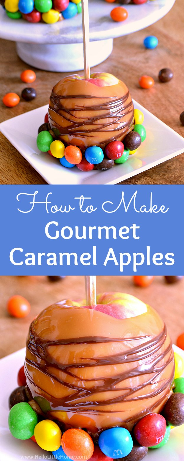 How to Make Gourmet Caramel Apples! This homemade caramel apples recipe is the perfect fall or Halloween dessert! Learn how to make DIY gourmet caramel apples the easy way!   Hello Little Home