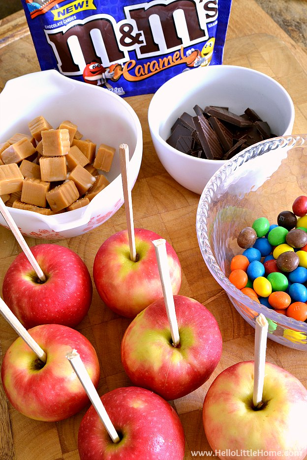 Ingredients for Gourmet Caramel Apples   Hello Little Home