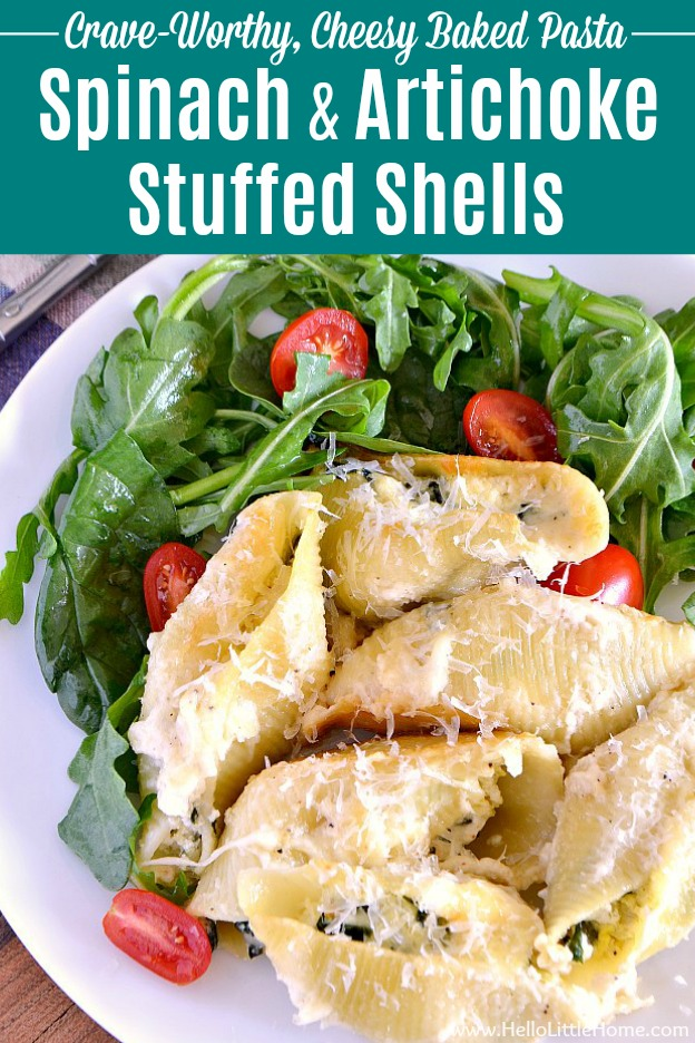 Spinach and Artichoke Stuffed Shells recipe … perfect for a crowd or party! An easy stuffed shells recipe featuring a mouthwatering ricotta, spinach, and artichoke filling. These vegetarian stuffed shells are baked in a decadent, but simple, white Alfredo sauce. Your whole family will love this Italian baked stuffed shells recipe that's packed with veggies. Makes a great meatless dinner. | Hello Little Home #stuffedshells #bakedpasta #comfortfood #spinachartichoke #pasta #vegetarianrecipes