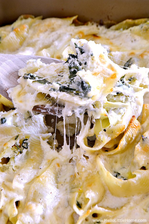 Serving Spinach and Artichoke Stuffed Shells ... lots of melted cheese | Hello Little Home