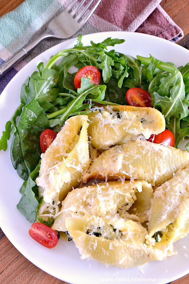Plate of Spinach and Artichoke Stuffed Shells | Hello Little Home