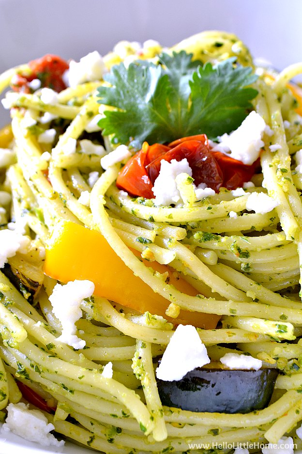Close Up of Pasta with Cilantro Pesto and Roasted Veggies, Sprinkled with Queso Fresco