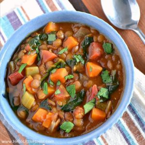 A bowl of vegan lentil soup.