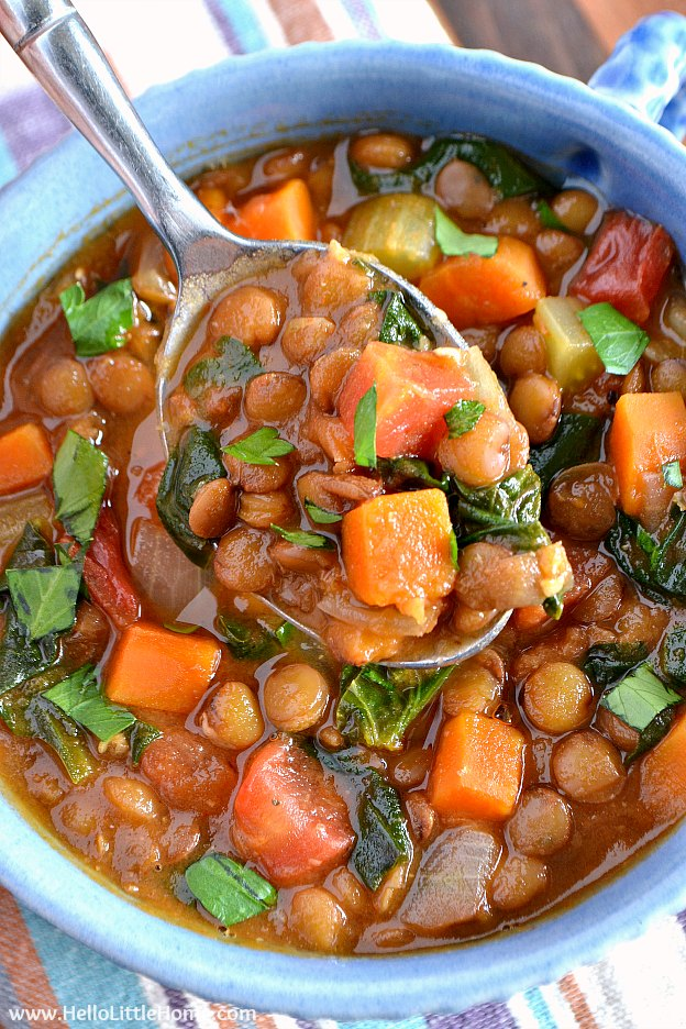 A spoonful of easy lentil soup.