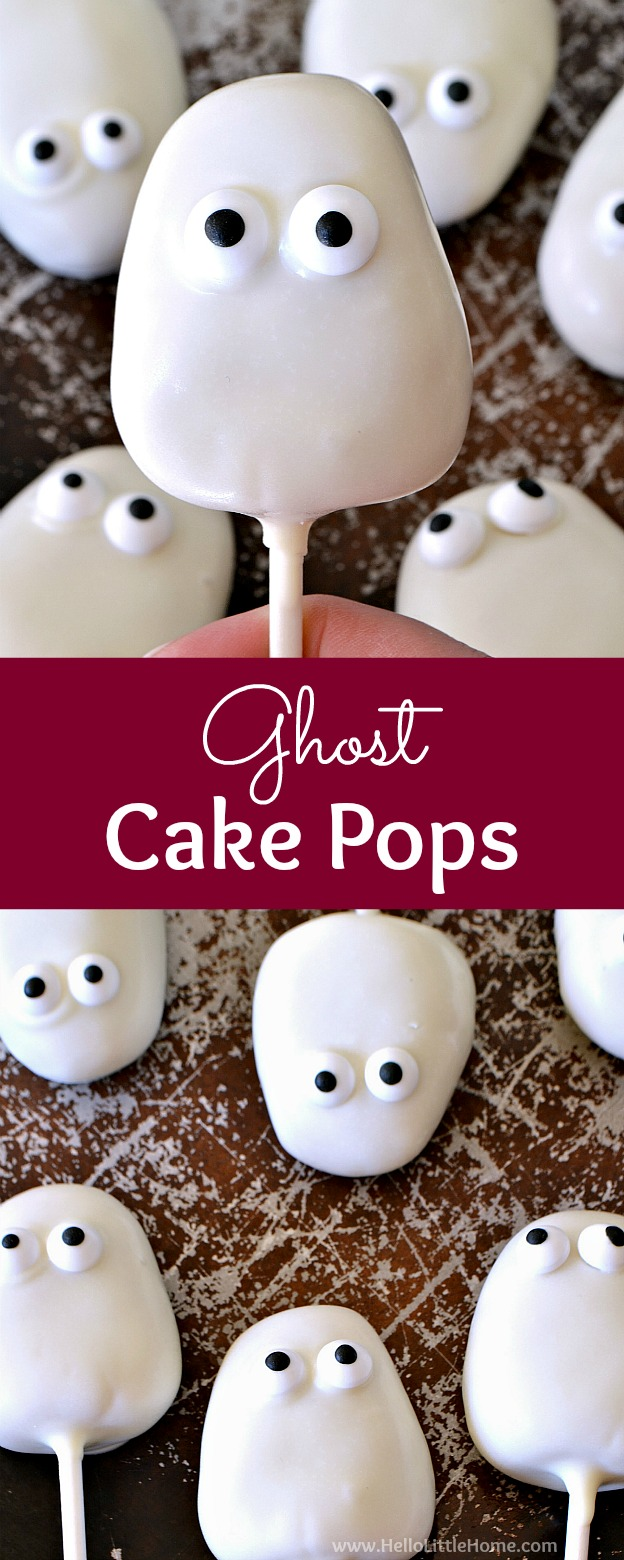 Ghost Cake Pops recipe ... an easy + cute Halloween cake pops tutorial! Learn how to make these white chocolate ghost cake pops. They're a delicious Halloween dessert that's fun to make and perfect for parties! | Hello Little Home