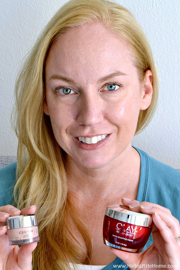 Take the #Olay28Day Challenge and see better skin in 1 month! The Olay 28 Day Challenge is an easy skin care regimen using the best products, Olay Regenerist Micro Sculpting Cream and Olay Eyes Ultimate Eye Cream, for visibly younger looking skin. It's an easy anti aging skin care routine that helps women in their 30s, 40s, and over 50 look younger … just check out my before and after pictures to see the results! | Hello Little Home