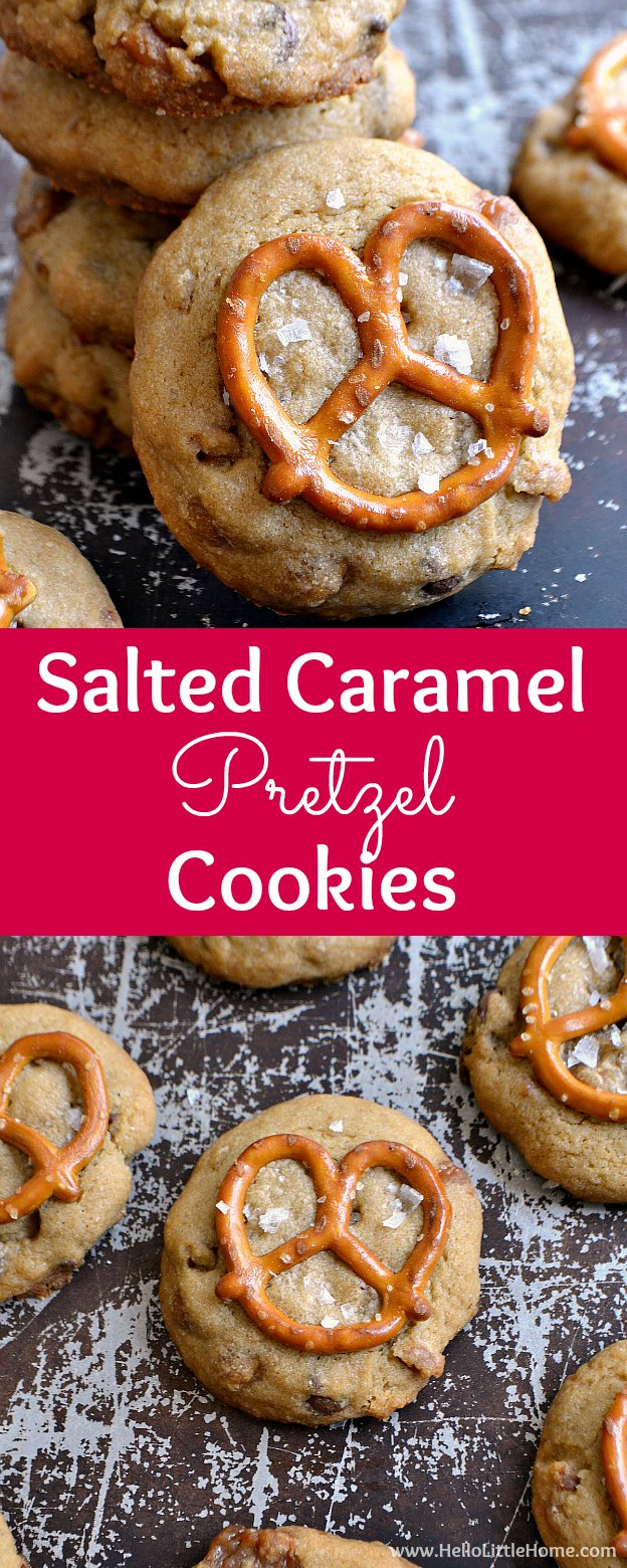 Salted Caramel Pretzel Cookies, a delicious homemade cookie! These easy salted caramel cookies are packed with pretzel pieces, chocolate chips, and caramel bits. A mini pretzel on top of these unique cookies is the perfect finishing touch to these sweet treats. This unique, from scratch cookie recipe makes a great sweet and salty dessert. Treat someone special to these gooey Salted Caramel Pretzel Cookies today! | Hello Little Home