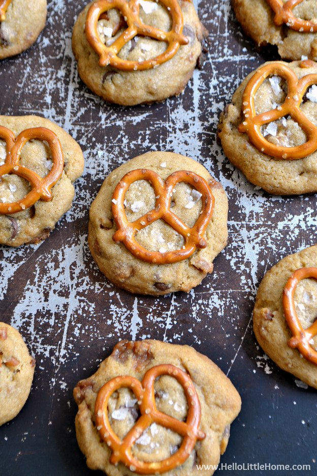 Tray filled with Salted Caramel Pretzel Cookies