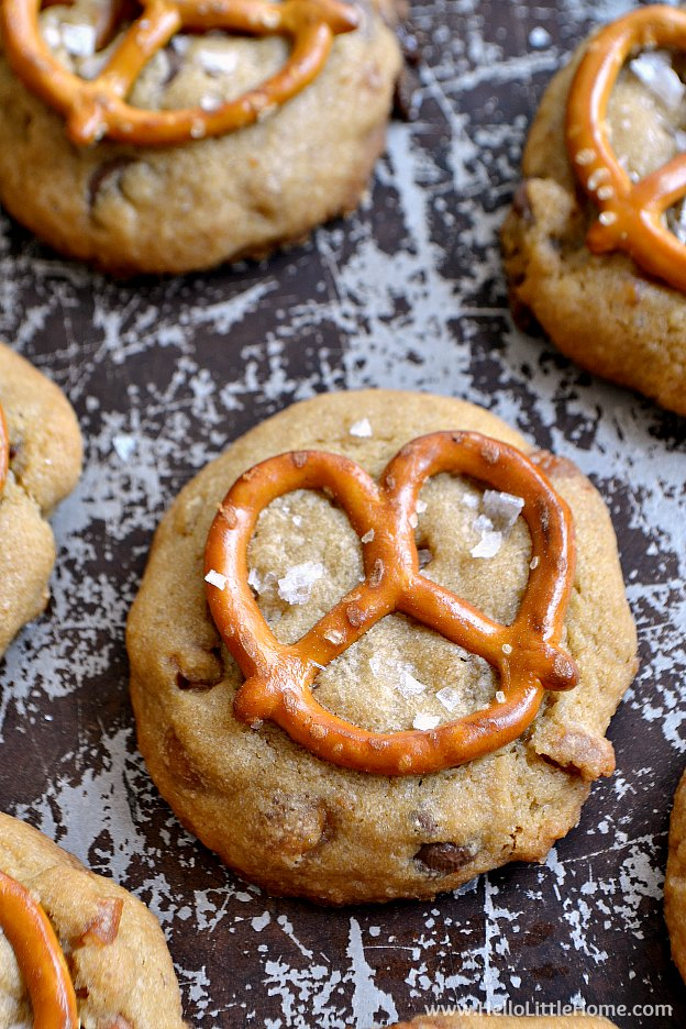 Close up of a Salted Caramle Pretzel Cookie