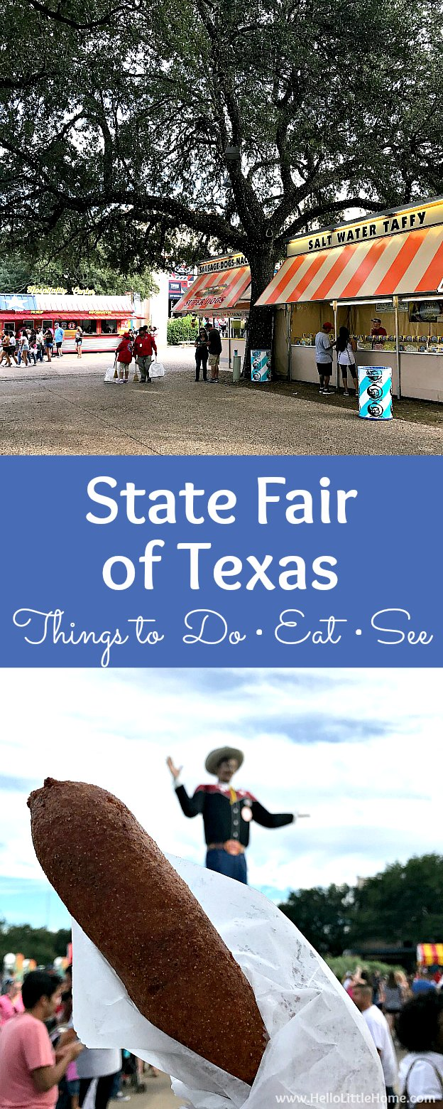 Best things to do, see, and eat at the State Fair of Texas in Dallas! From the best Texas State Fair food to the ferris wheel, and other fun sights, this visitors guide covers and has pictures of it all. Lots of Texas State Fair tips and photos of everything from Big Tex to the rides ... add this fair to your Texas bucket list! | Hello Little Home