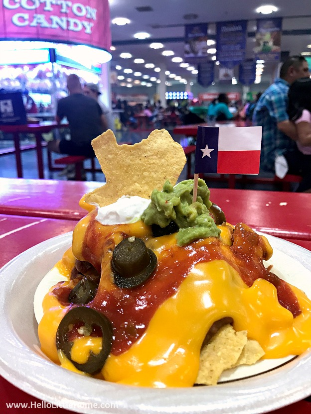 Texas Shaped Nachos in the food hall at the Texas State Fair | Hello Little Home