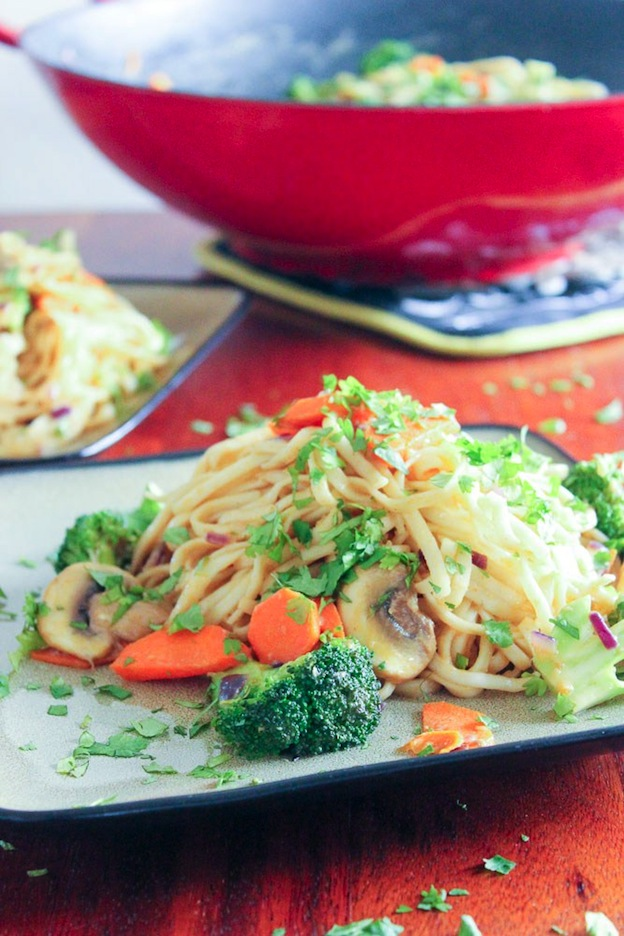 Vegetarian Dan Dan (-ish) Noodles from Delicious on a Dime ... one of 100+ Vegetarian Comfort Food Recipes | Hello Little Home