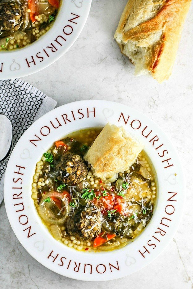 Vegetarian Italian Wedding Soup from Killing Thyme ... one of 100+ Vegetarian Comfort Food Recipes | Hello Little Home
