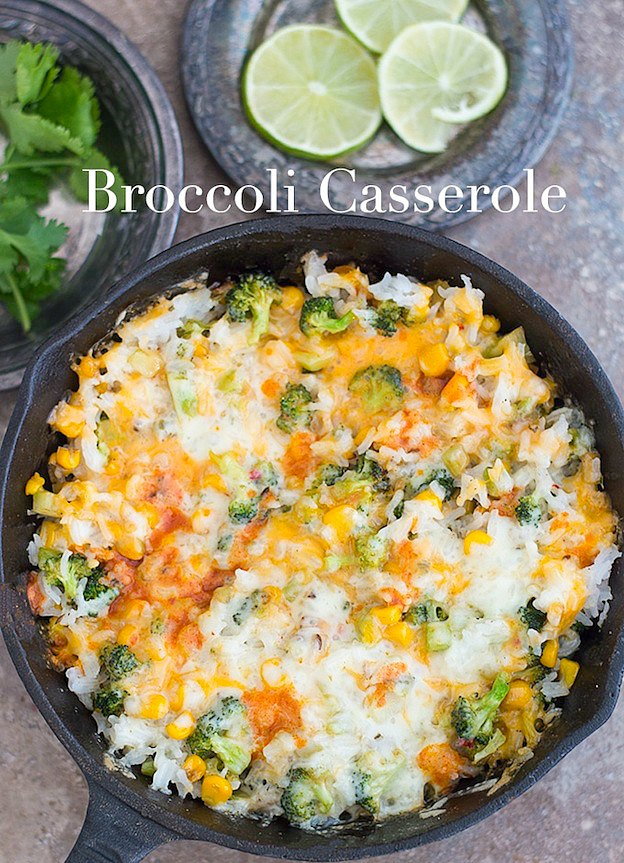 Broccoli Rice Casserole from Healing Tomato ... one of 100+ Vegetarian Comfort Food Recipes | Hello Little Home