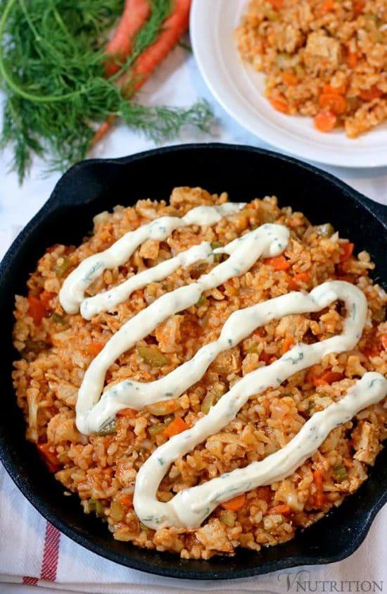 Vegan Buffalo Chicken Rice Skillet from VNutrition ... one of 100+ Vegetarian Comfort Food Recipes | Hello Little Home