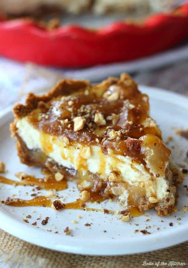 Caramel Apple Cheesecake from Kennary ... one of 100+ Vegetarian Comfort Food Recipes | Hello Little Home