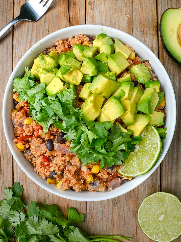 Instant Pot Mexican Quinoa Bowl from Where You Get Your Protein ... one of 100+ Vegetarian Comfort Food Recipes | Hello Little Home