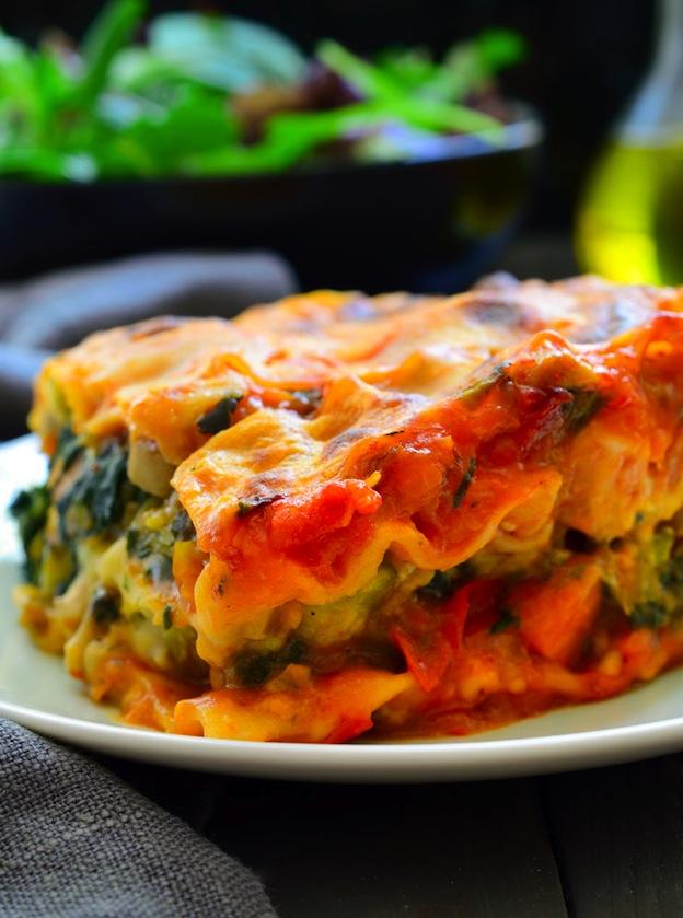 Closeup of a slice of Vegan Lasagna.