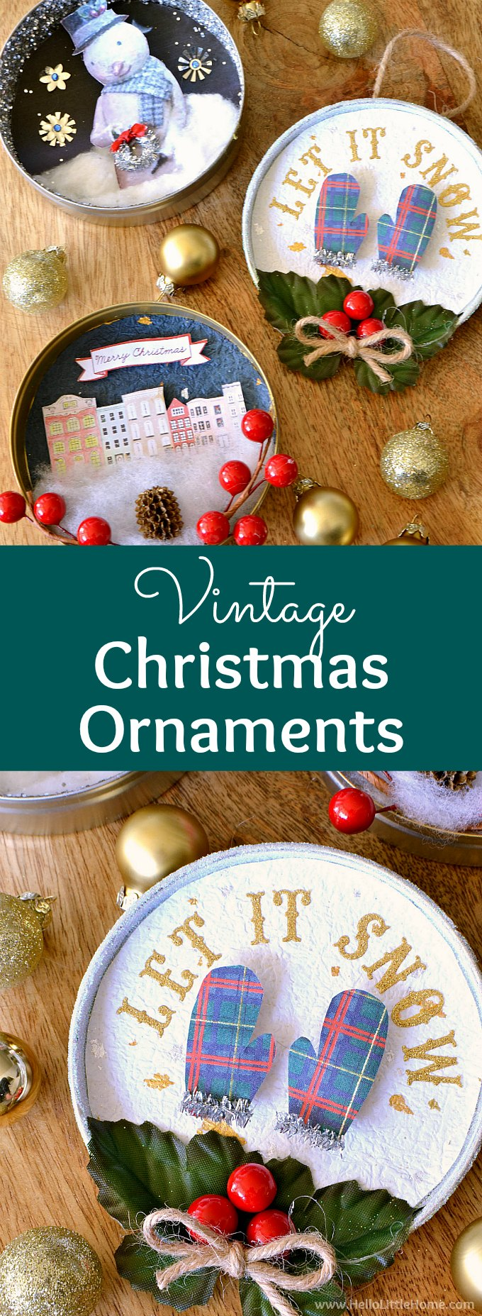 DIY Vintage Christmas Ornaments ... learn how to make homemade Christmas ornaments from paper, glitter, pipe cleaners, clip art, ribbons, and other crafty supplies with this easy tutorial! These beautiful handmade Christmas ornaments are a fun holiday craft that also make a great holiday gift. These unique vintage shadow box ornaments are easy to make and have a fun retro vibe. | Hello Little Home