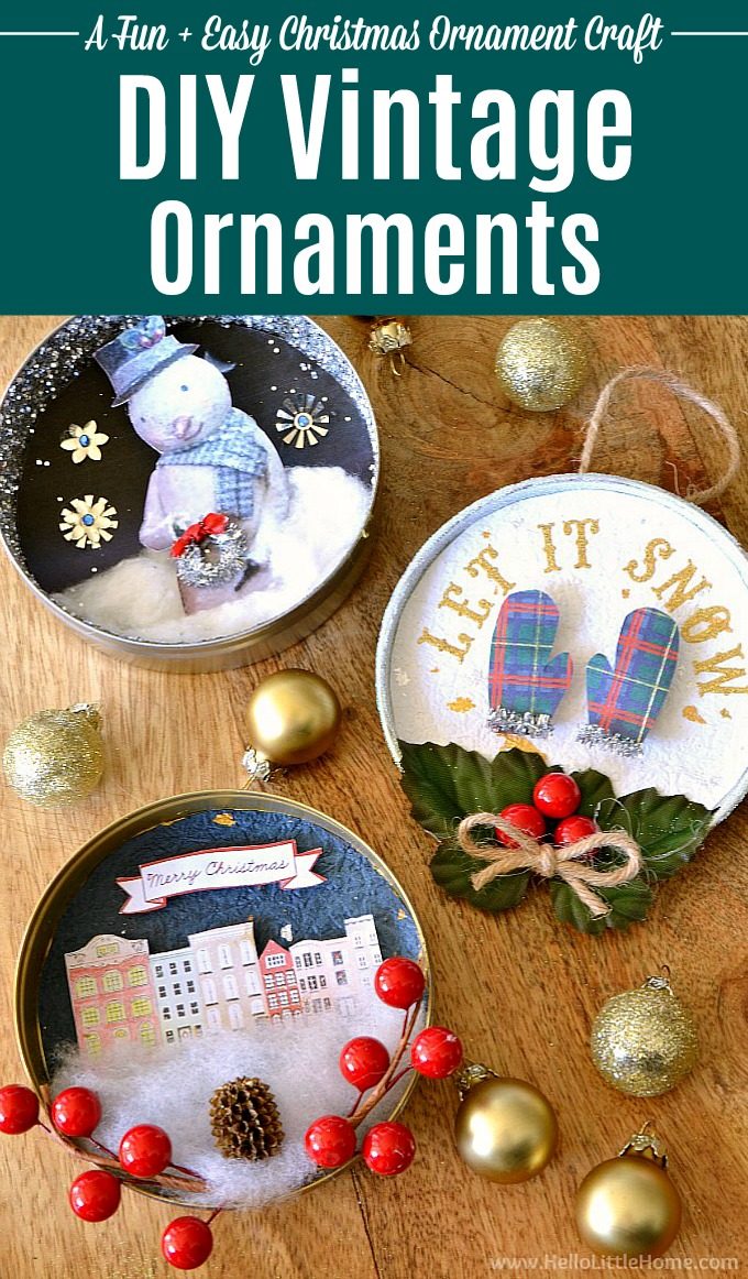 DIY Vintage Christmas Ornaments! Learn how to make homemade Christmas ornaments from paper, glitter, pipe cleaners, clip art, ribbons, and other crafty supplies with this easy tutorial! These beautiful handmade Christmas ornaments are a fun holiday craft that also make a great holiday gift. These unique vintage shadow box ornaments are easy to make and have a fun retro vibe. | Hello Little Home #christmasdecor #christmastree #christmascrafts #christmasornaments #diyornaments #holidaycrafts