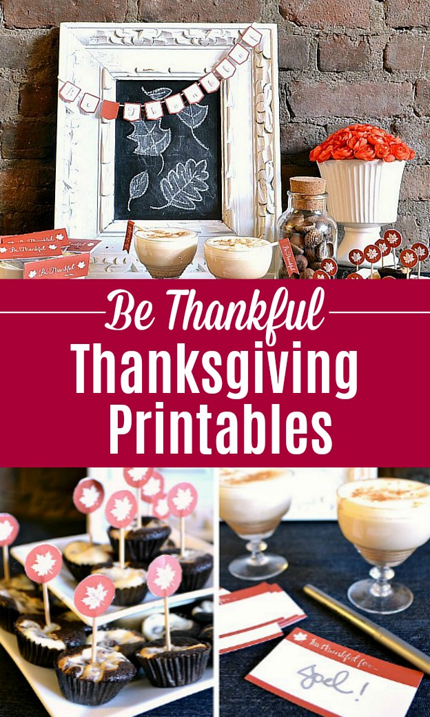 A collage of photos showing free Thanksgiving printables and a fall tablescape.