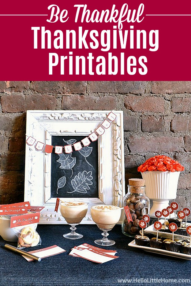 Free Thanksgiving printables decorating a Thanksgiving tablescape.