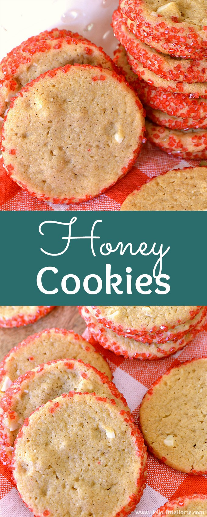 Honey Cookies recipe … your whole family will love this easy Christmas cookie recipe! These unique, old fashioned Honey Cookies are homemade with almonds and no eggs, and spiced with cinnamon and cardamon. This is a traditional Christmas cookie recipe just like mom used to make that's crispy on the edges and chewy in the middle. The best Honey Cookie recipe for the holiday season! | Hello Little Home