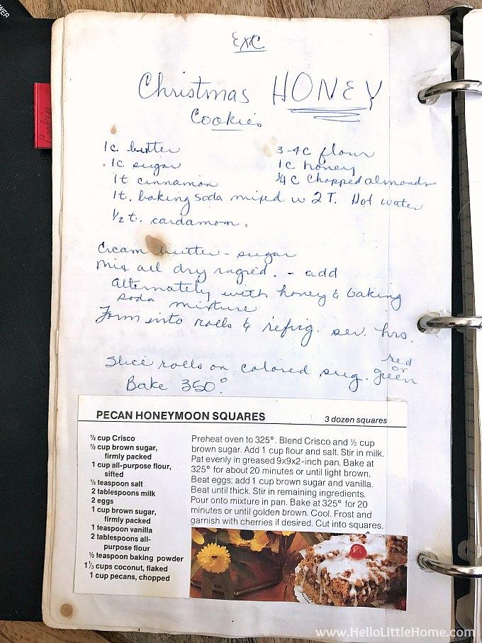 Photo of Honey Cookies recipe in my mom's cookbook.