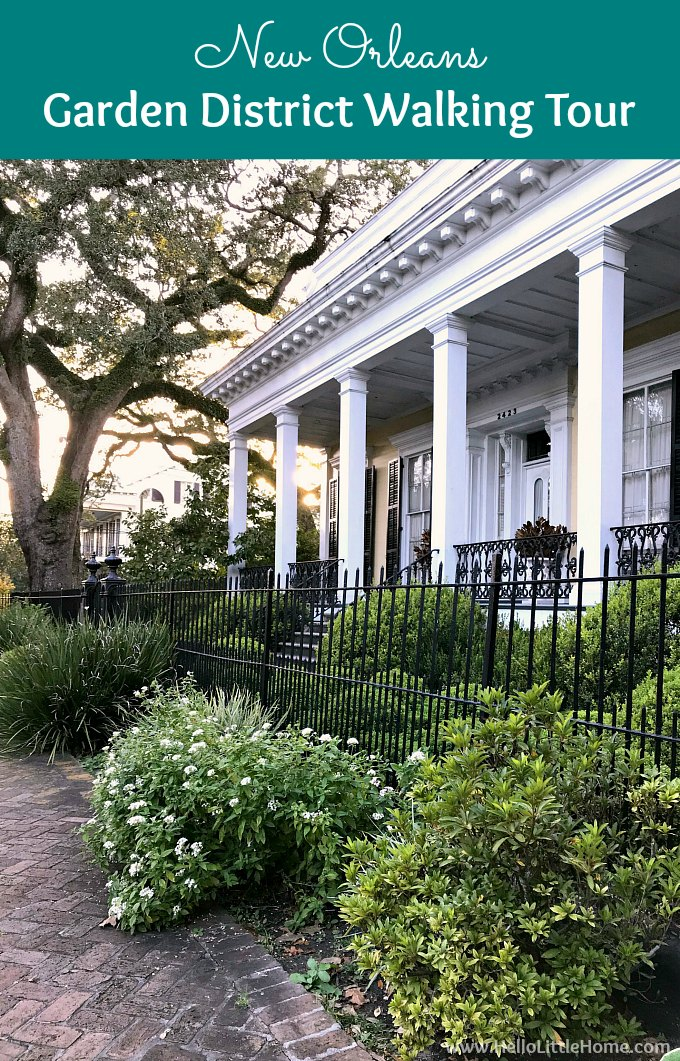 Take a free self-guided Garden District Walking Tour using this New Orleans Garden District travel guide! There are tons of things to do in the Garden District and this guide takes you on a walking tour of the unique architecture and beautiful homes and mansions (with lots of pictures). Includes a free New Orleans Garden District walking map and suggested routes with things to see along the way. | Hello Little Home