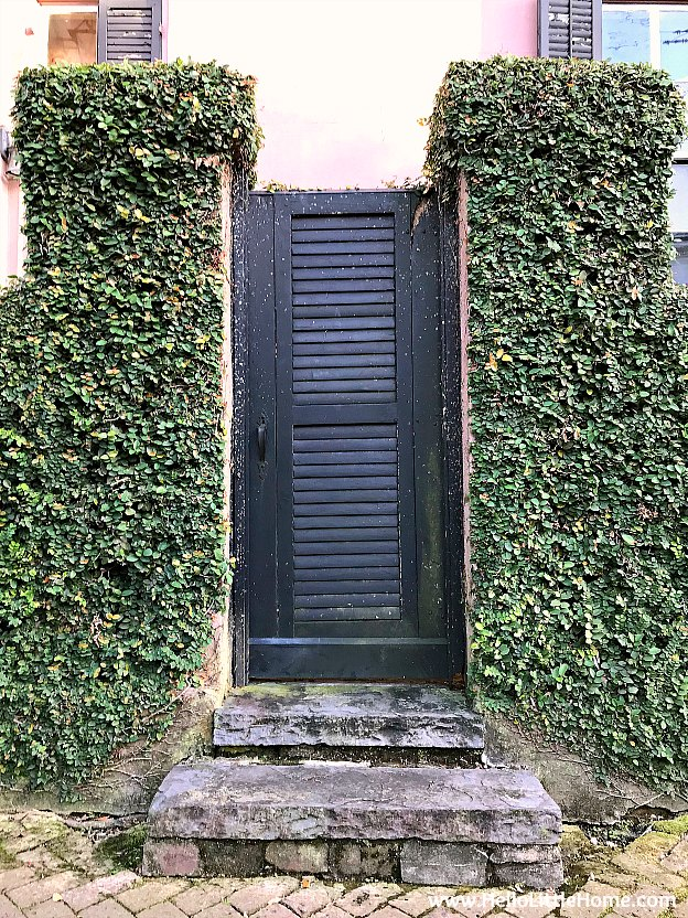 Side gate and hedge at the Morris Israel House in the Garden District New Orleans