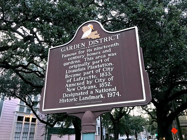 New Orleans Garden District Historical Marker