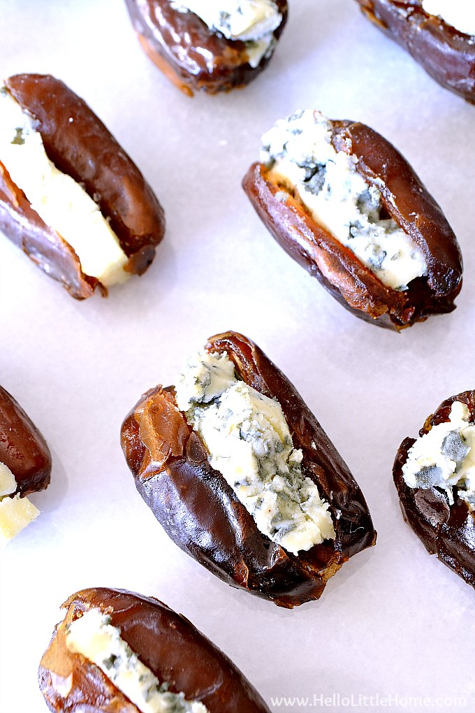 Closeup of blue cheese stuffed dates appetizer.