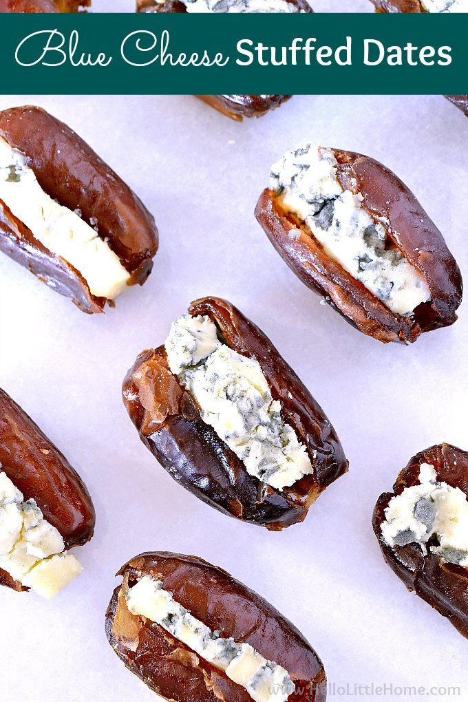 Blue Cheese Stuffed Dates Recipe! These savory vegetarian stuffed dates are an awesome party appetizer idea with only two ingredients: medjool dates and blue cheese. Learn how to make this sweet and salty stuffed dates recipe with gorgonzola or your favorite blue cheese. These gluten free blue cheese stuffed dates are a simple, easy to make finger food that everyone will love! | Hello Little Home