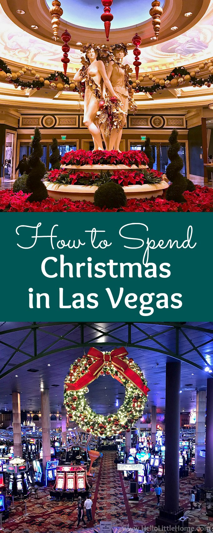 How to Spend Christmas in Las Vegas! Will you be traveling to Las Vegas for the holidays, and you're wondering what to do? These are the best things to do in Las Vegas at Christmas time and in November or December. Read on to enjoy lots of pictures of Las Vegas Christmas decorations from trees to lights at the different casinos on the Las Vegas Strip, plus get plenty of Las Vegas tips: how to see it all, where to eat, where to shop, where to stay, and more! | Hello Little Home