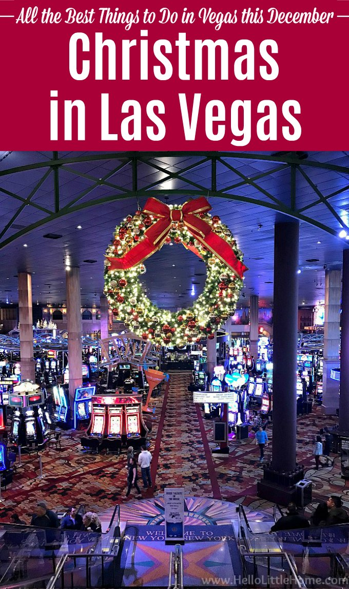 Christmas in Las Vegas: a giant wreath on the casino floor at New York, New York casino.