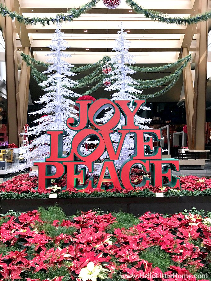 Joy Love Peace Sign in Aria Casino Las Vegas for Christmas