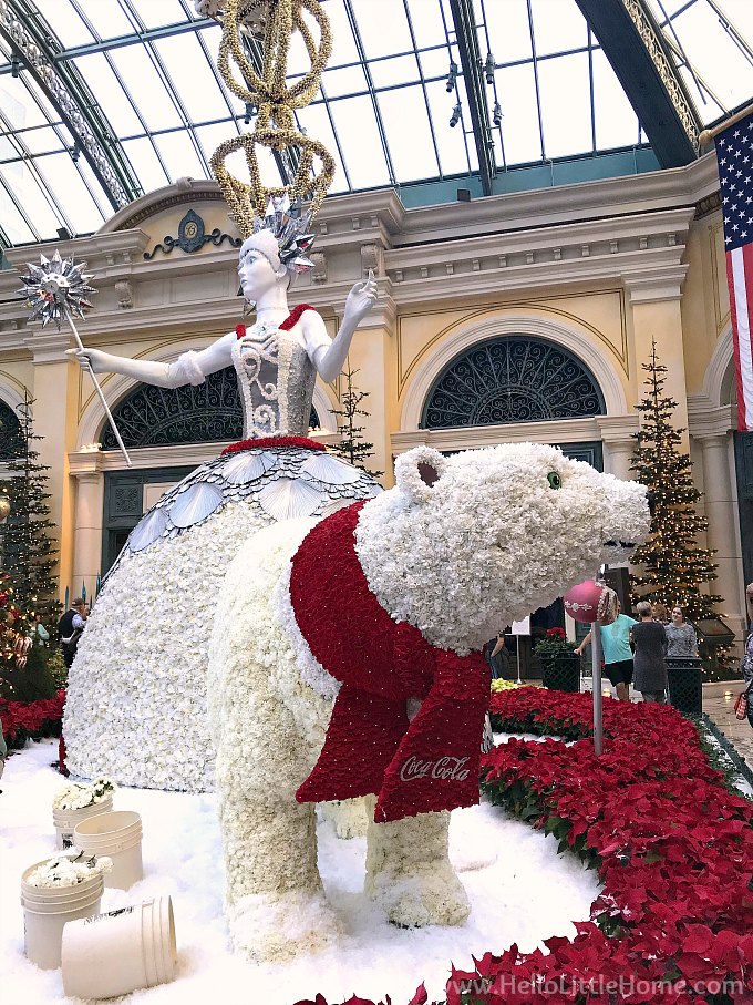 Polar Bear in the Bellagio Conservatory and Botanical Garden for Christmas in Las Vegas
