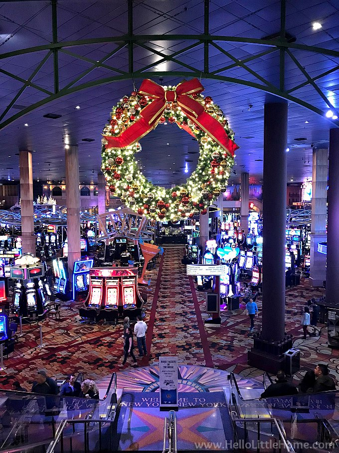 Large Christmas Wreath Overlooking the Casino in New York, New York