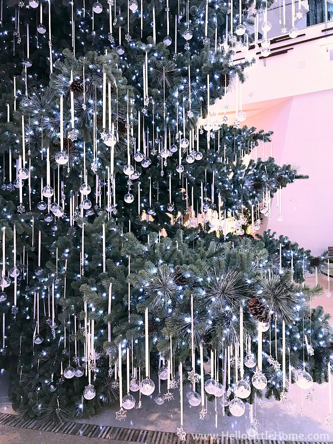 Swarovski Christmas Ornaments on the Tree at the Shops at the Crystals Mall in Las Vegas